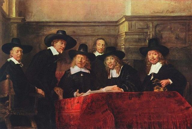 Rembrandt: Predstavení súkenníckeho cechu